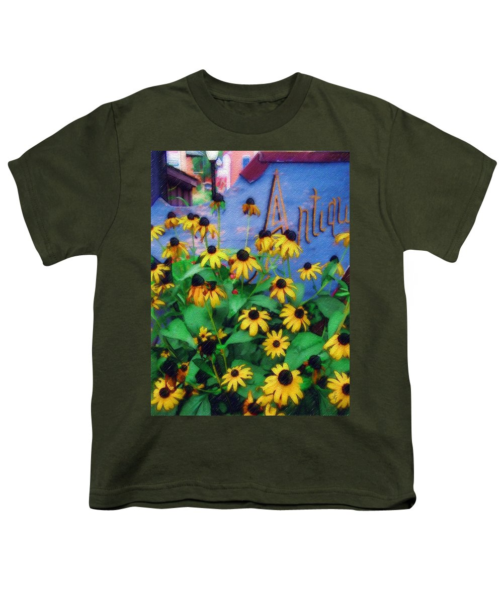 Flowers Youth T-Shirt featuring the photograph Black-eyed Susans At The Bag Factory by Sandy MacGowan