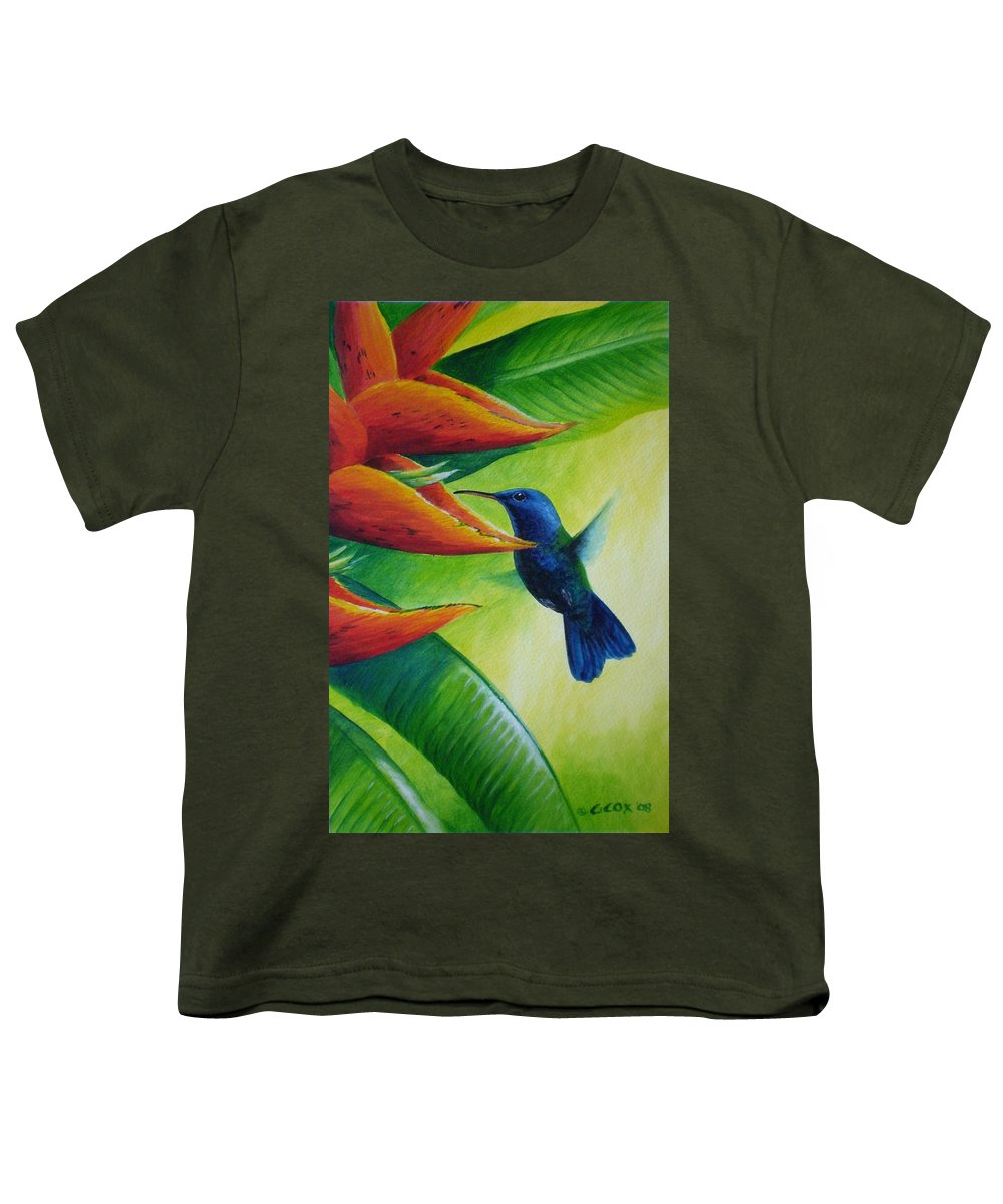 Blue-headed Hummingbird Youth T-Shirt featuring the painting Blue-headed Hummingbird by Christopher Cox