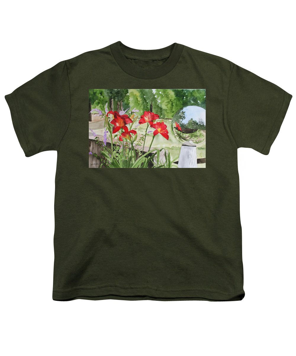 Flowers Youth T-Shirt featuring the painting Blue Sky Reflections by Jean Blackmer