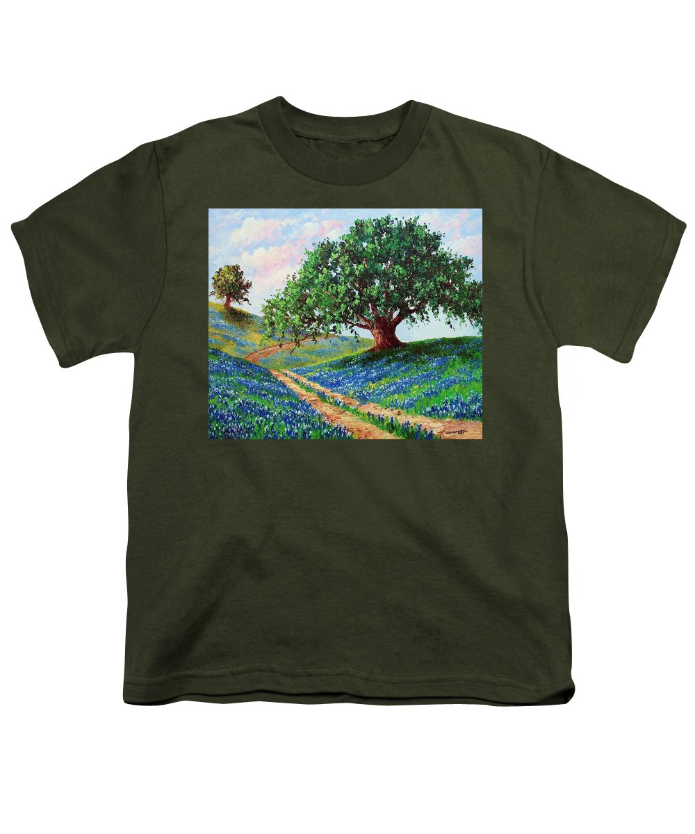Bluebonnet Youth T-Shirt featuring the painting Bluebonnet Road by David G Paul
