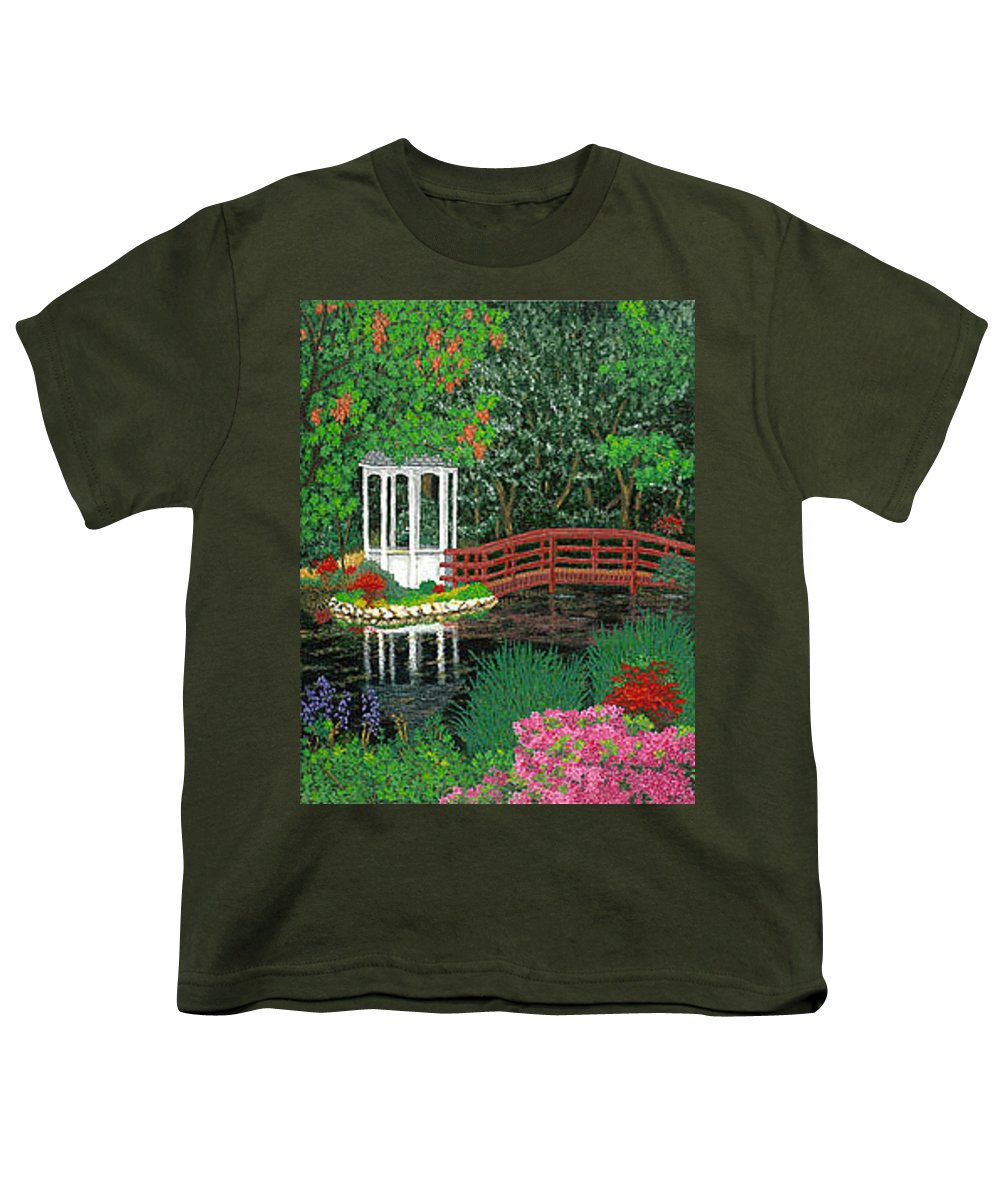 Art Youth T-Shirt featuring the painting Botanical Garden Park Walk Pink Azaleas Bridge Gazebo Flowering Trees Pond by Baslee Troutman