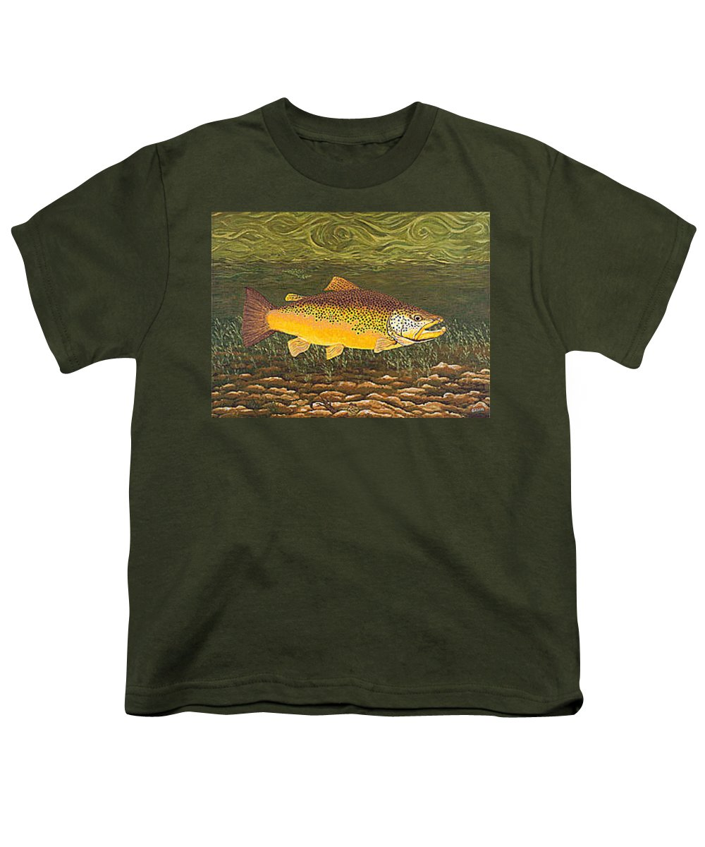 Art Print Prints Canvas Framed Giclee Fine Brown Trout Fish Angler Angling Fishing Fishermen Decor Youth T-Shirt featuring the painting Brown Trout Fish Art Print Touch Down Brown Trophy Size Football Shape Brown Trout Angler Angling by Baslee Troutman