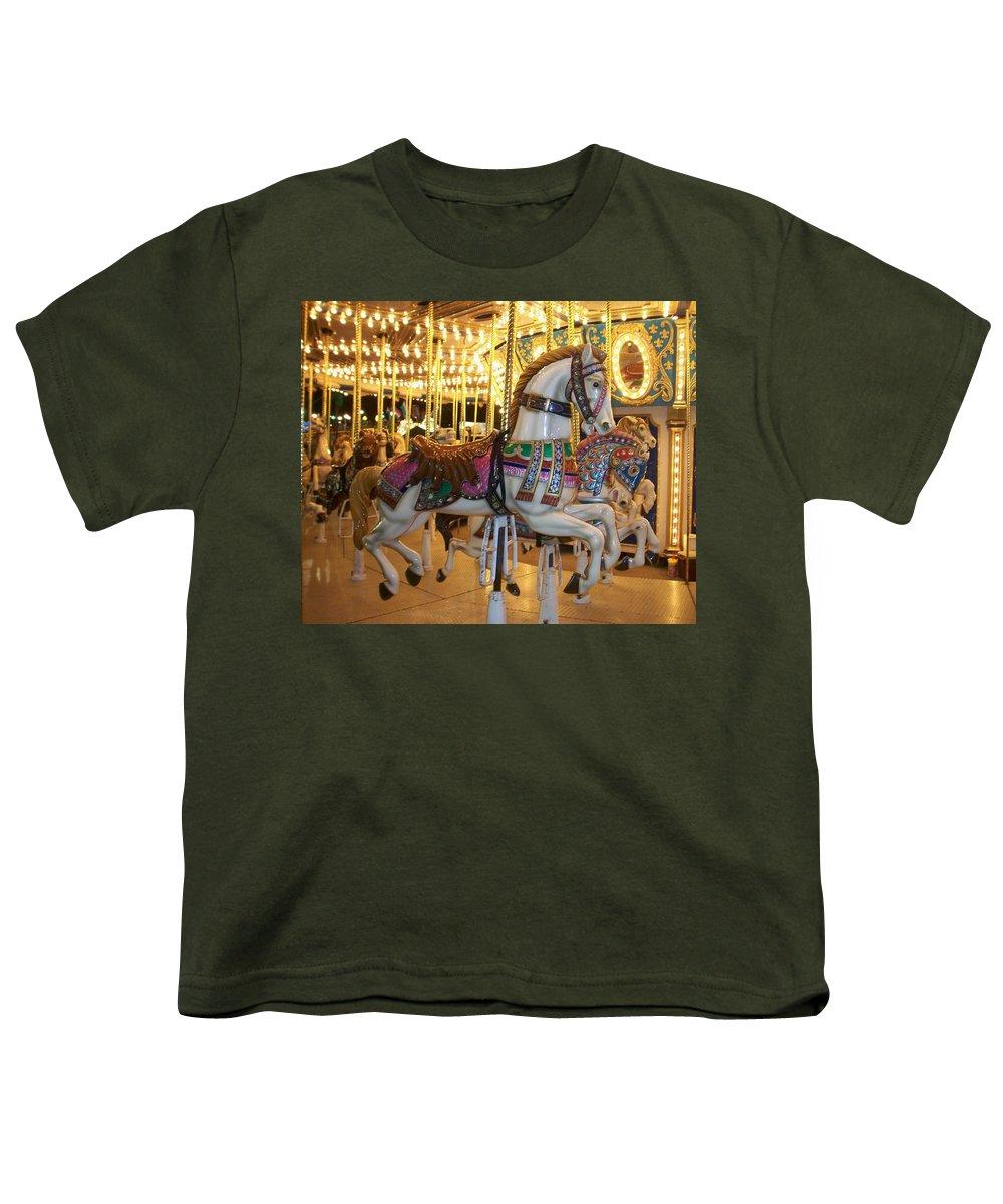 Carosel Horse Youth T-Shirt featuring the photograph Carosel Horse by Anita Burgermeister