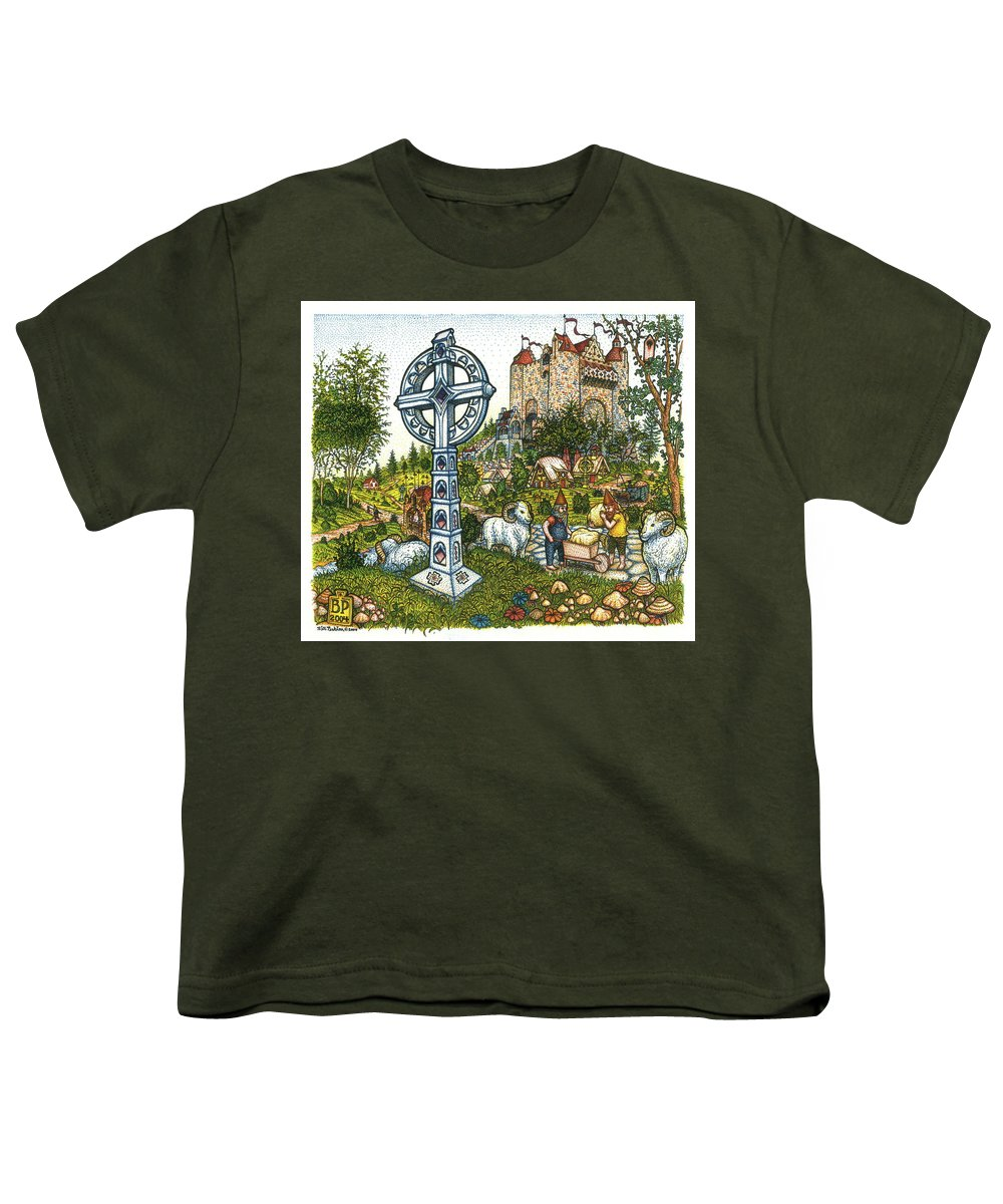 Castle Youth T-Shirt featuring the drawing Castle Cross by Bill Perkins