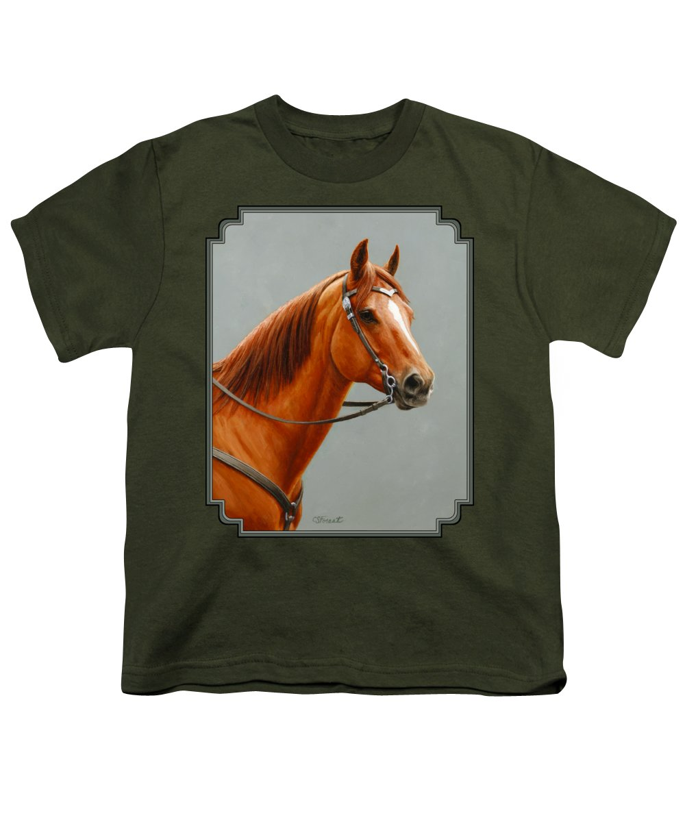 Horse Youth T-Shirt featuring the painting Chestnut Dun Horse Painting by Crista Forest