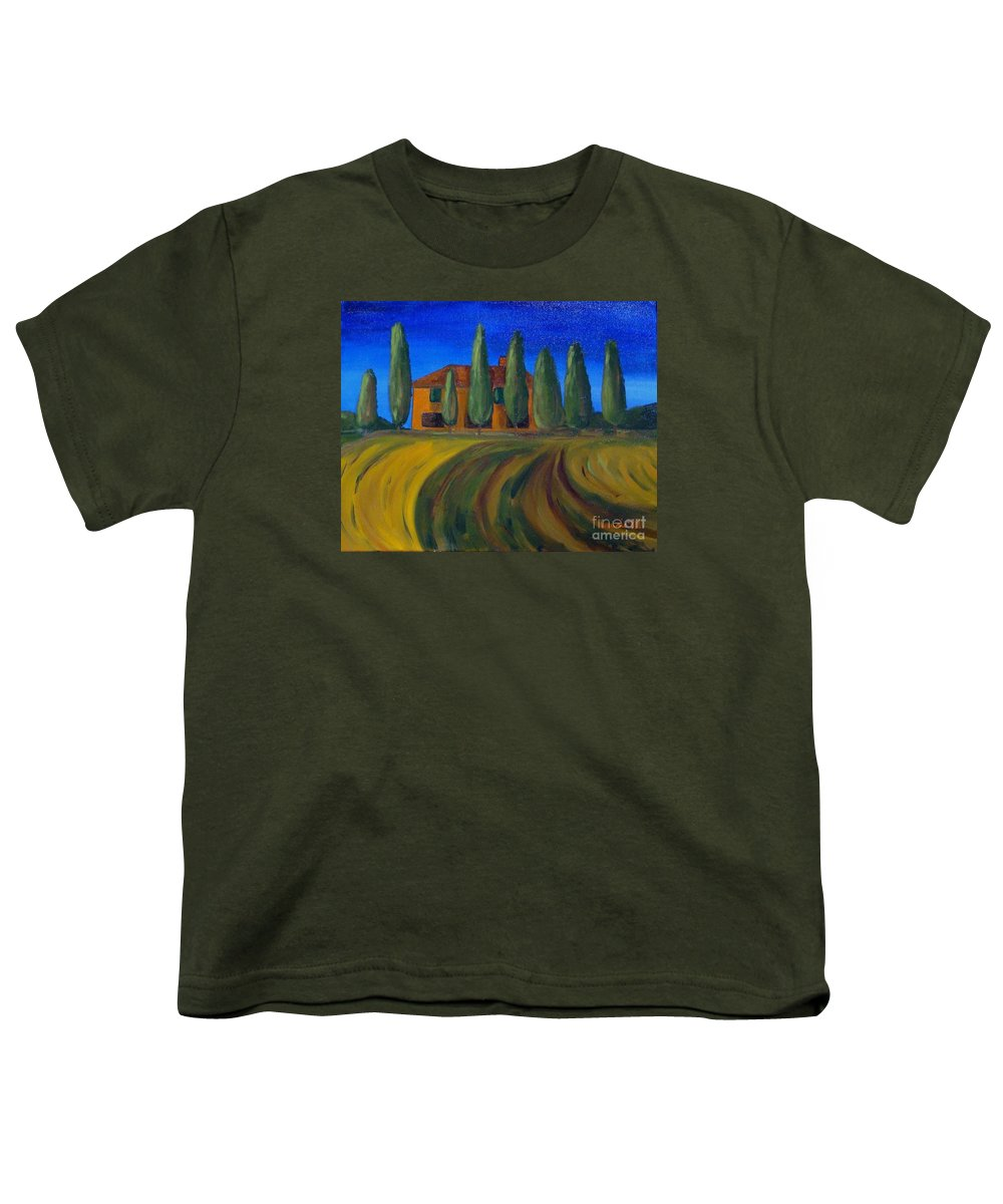 Tuscany Youth T-Shirt featuring the painting Classic Tuscan Sunset by Laurie Morgan