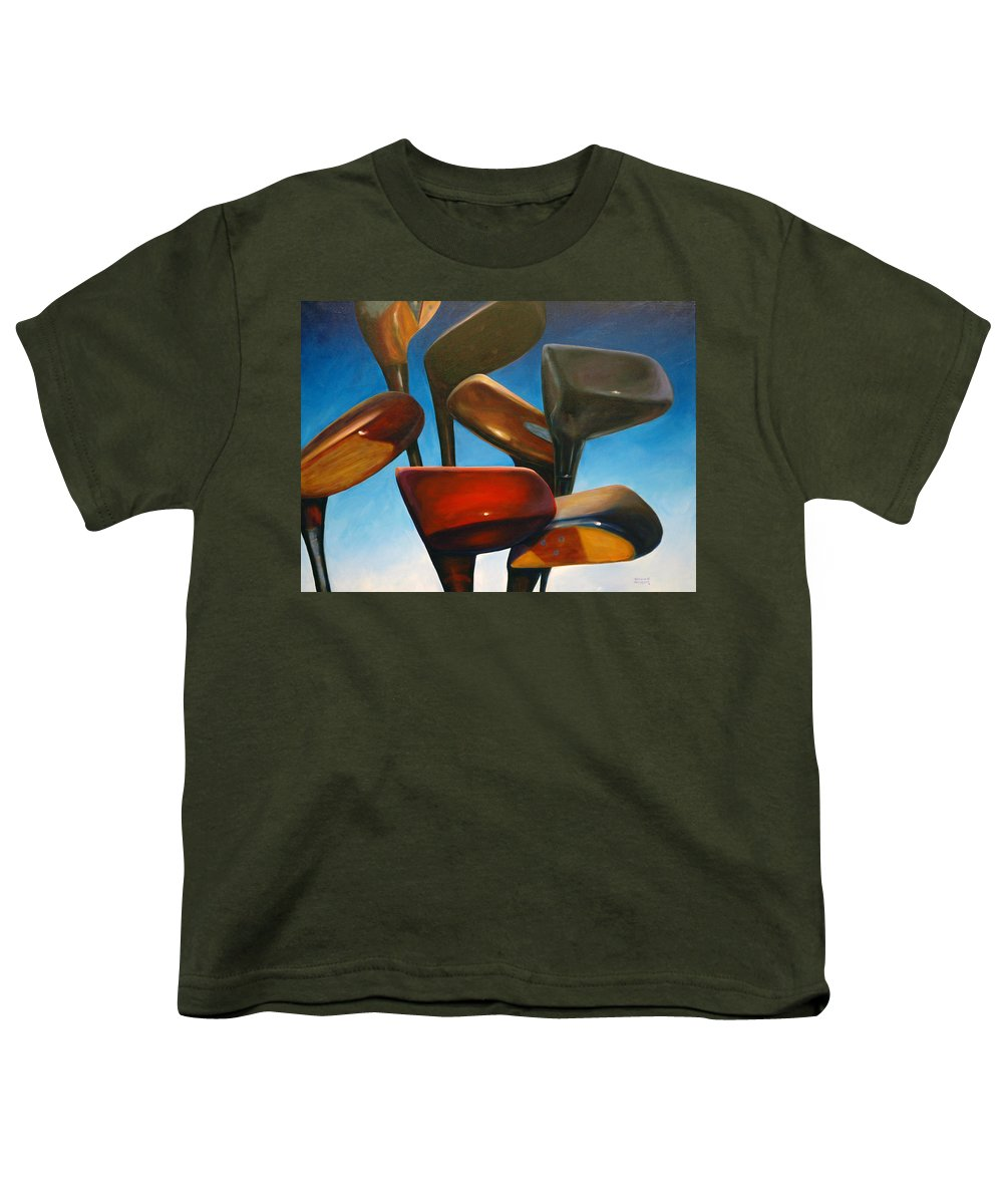 Golf Clubs Brown Youth T-Shirt featuring the painting Clubs Rising by Shannon Grissom