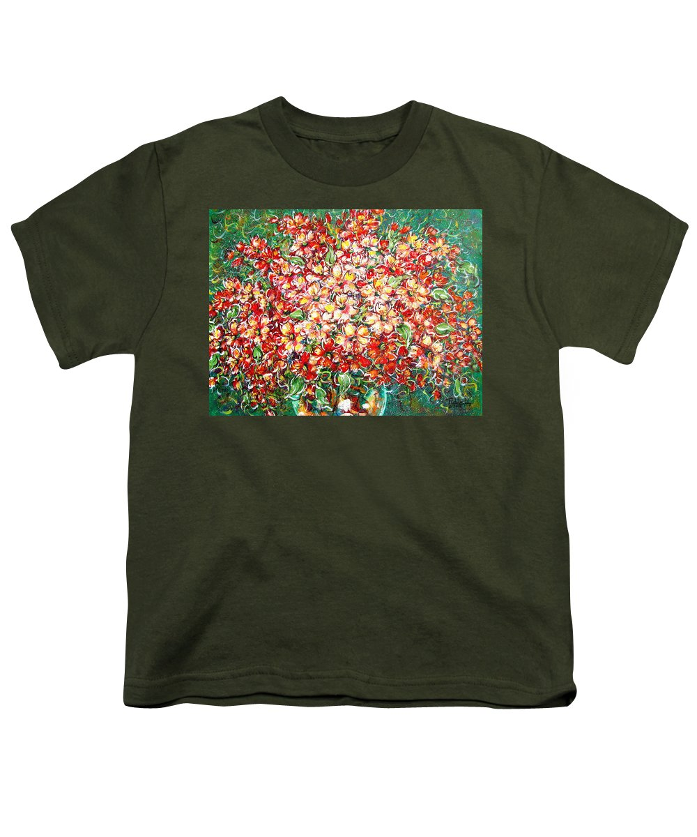 Flowers Youth T-Shirt featuring the painting Cottage Garden Flowers by Natalie Holland