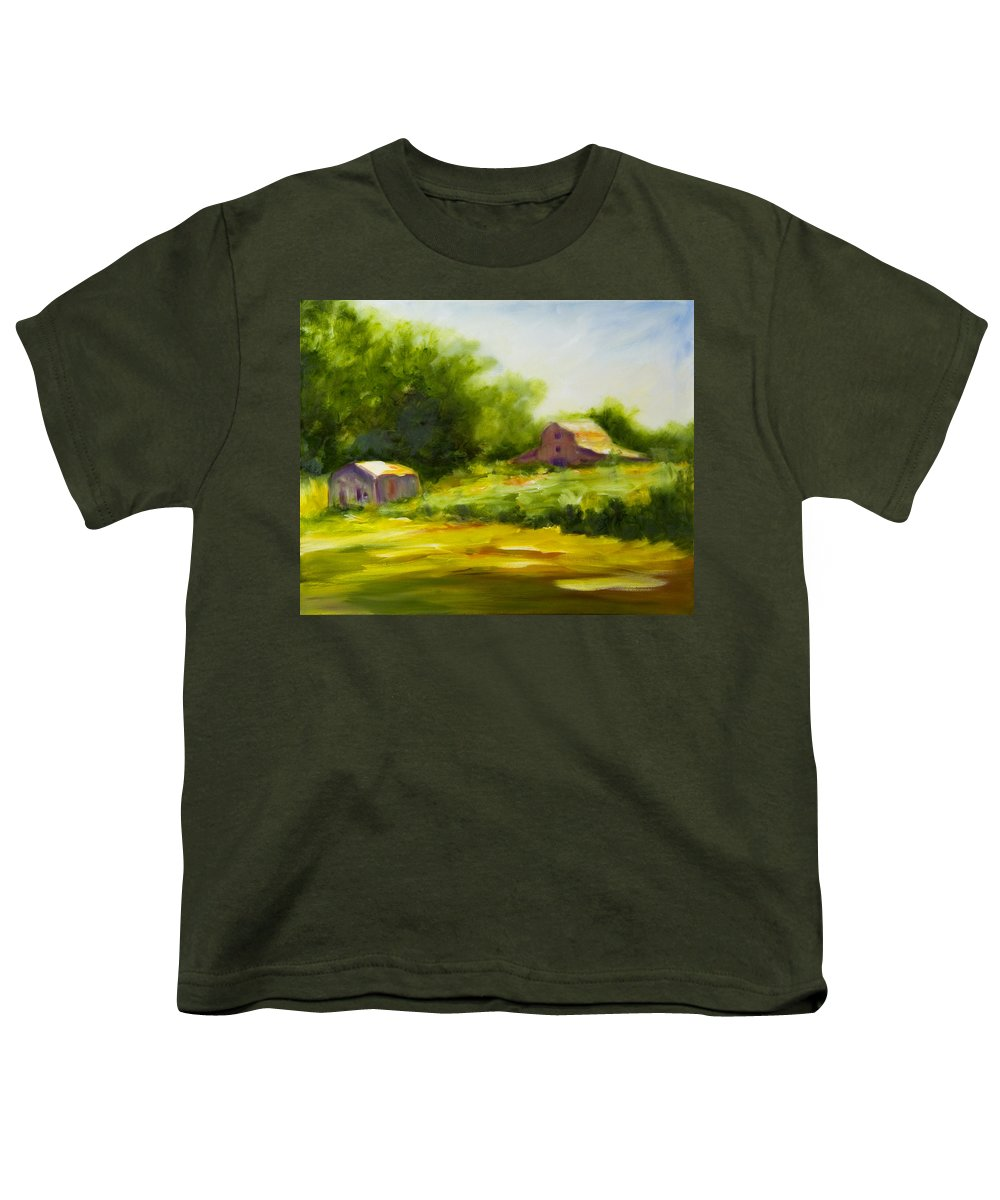 Landscape In Green Youth T-Shirt featuring the painting Courage by Shannon Grissom