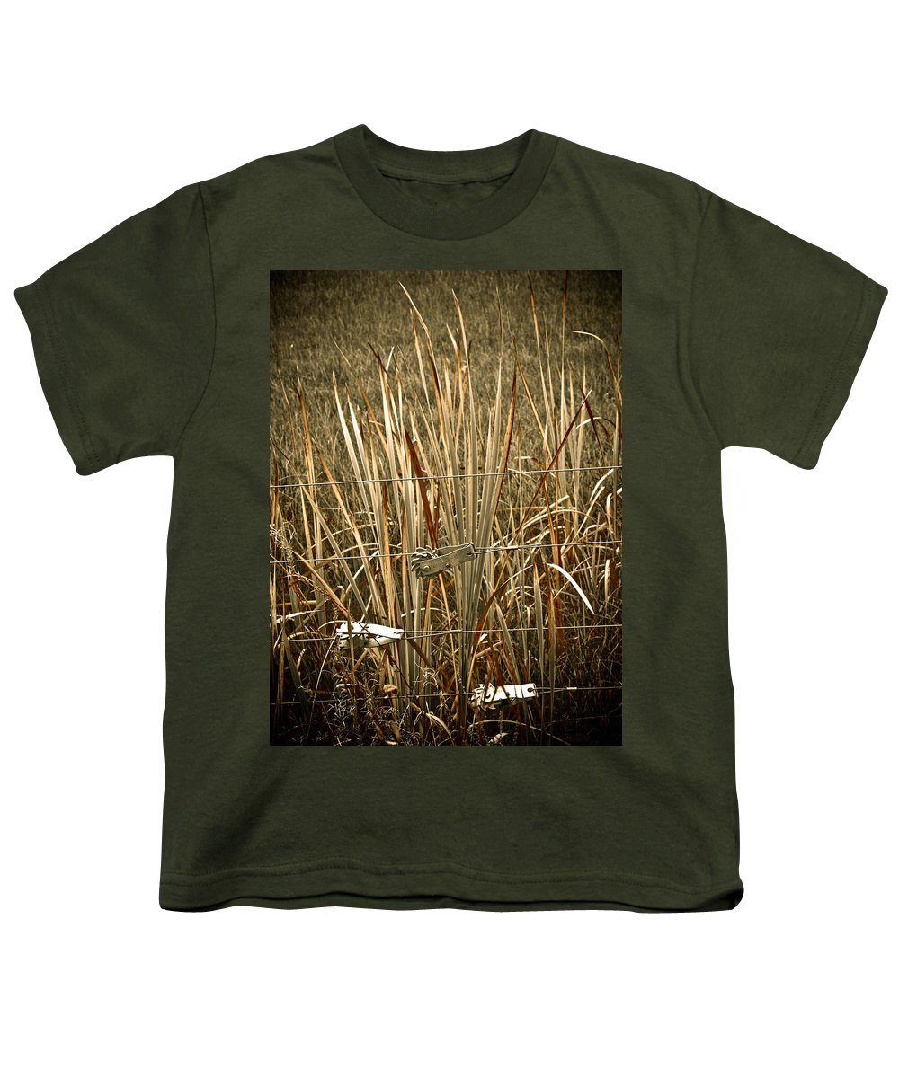 Americana Youth T-Shirt featuring the photograph Cowboy Fence by Marilyn Hunt