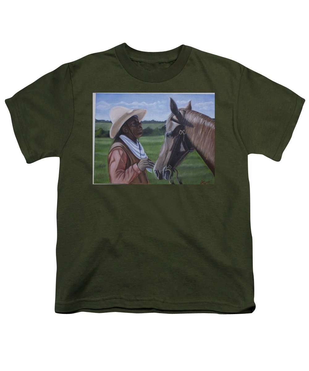 Portrait Youth T-Shirt featuring the painting Cowboy2 by Toni Berry