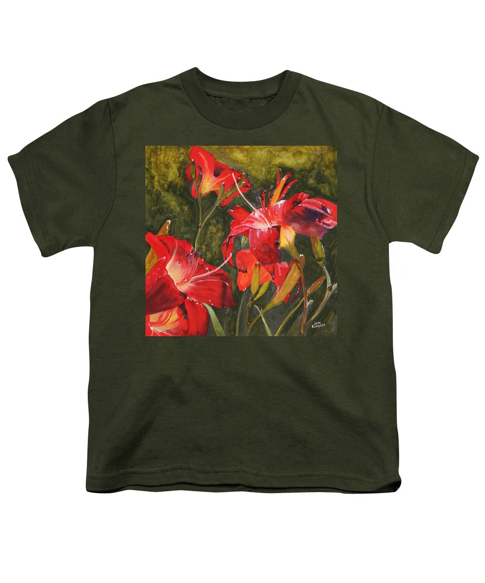 Red Youth T-Shirt featuring the painting Crimson Light by Jean Blackmer