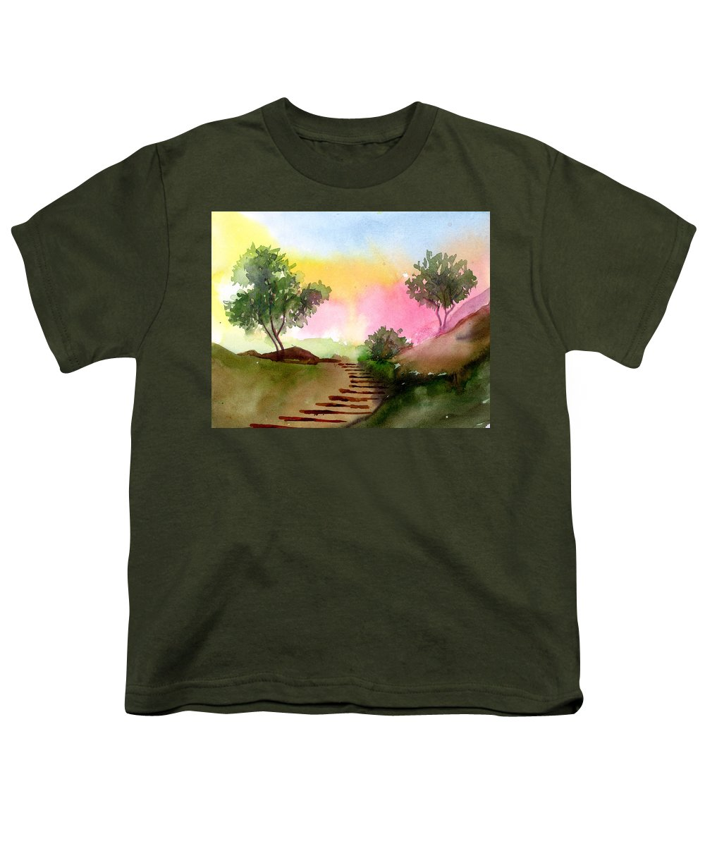 Landscape Youth T-Shirt featuring the painting Dawn by Anil Nene