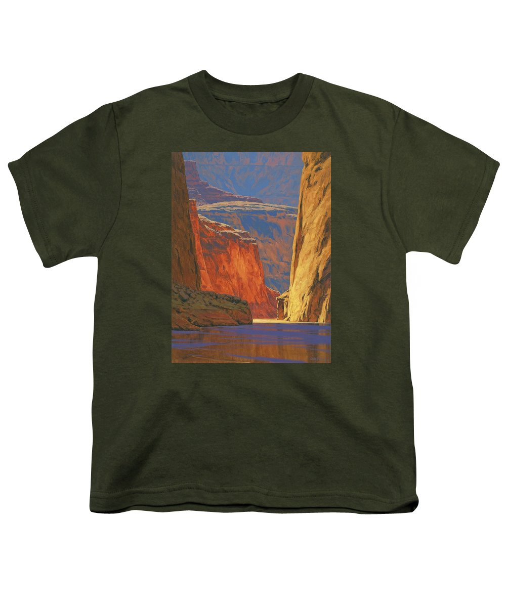 Grand Canyon Youth T-Shirt featuring the painting Deep In The Canyon by Cody DeLong
