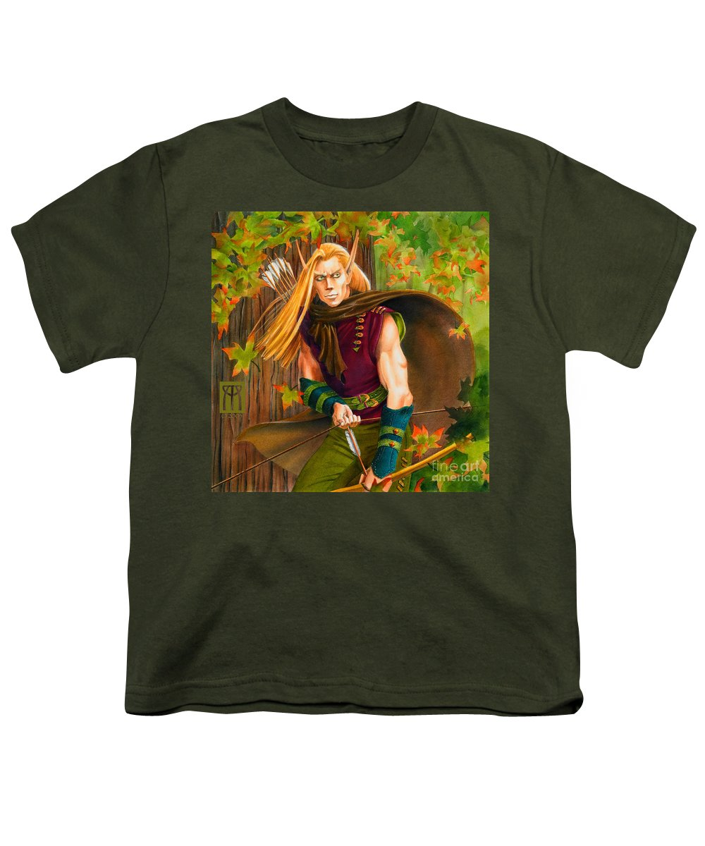 Elf Youth T-Shirt featuring the painting Elven Hunter by Melissa A Benson