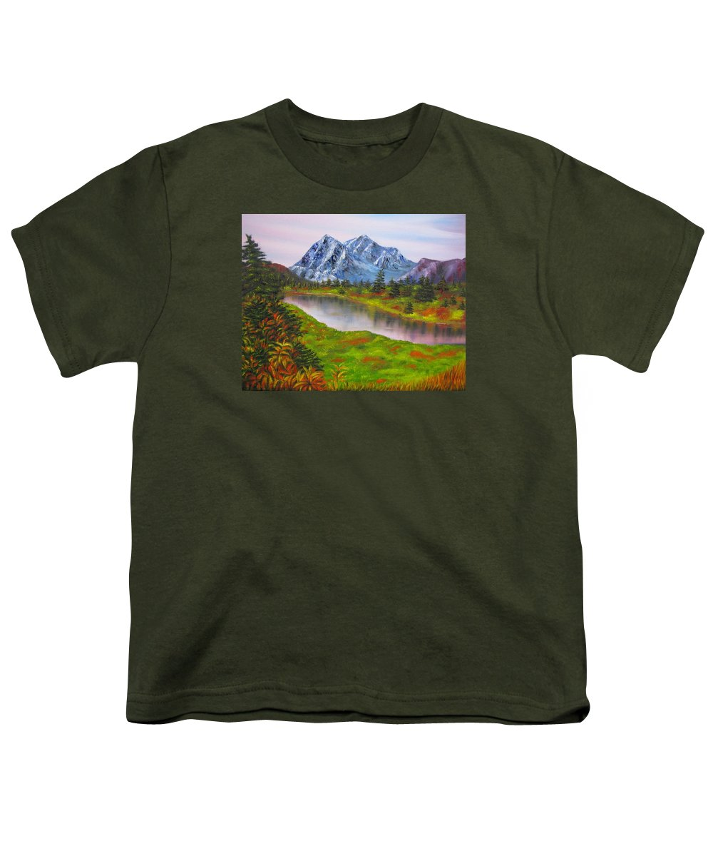Fall Youth T-Shirt featuring the painting Fall In Mountains Landscape Oil Painting by Natalja Picugina