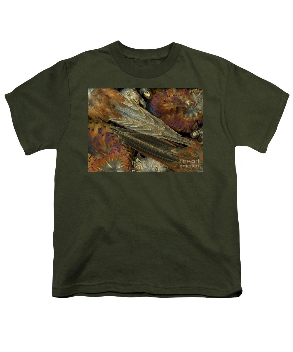 Pheasant Youth T-Shirt featuring the photograph Featherdance by Christian Slanec