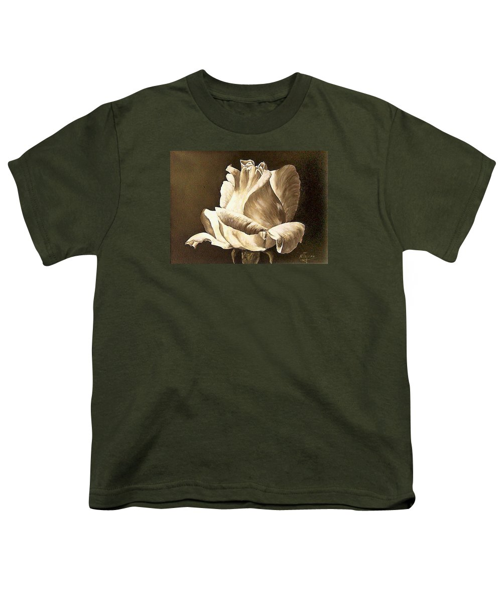 Rose Flower Youth T-Shirt featuring the painting Feeling The Light by Natalia Tejera