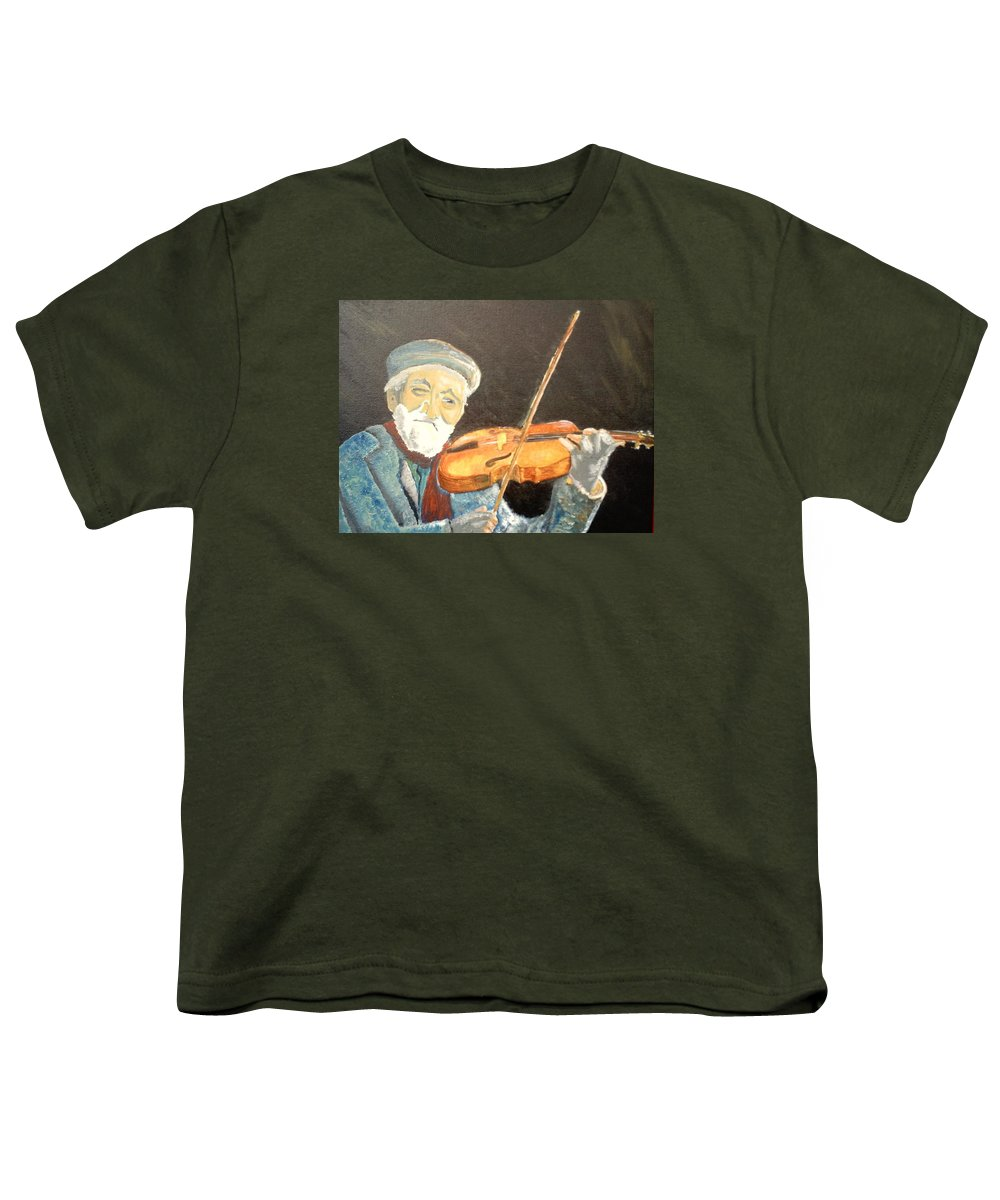 Hungry He Plays For His Supper Youth T-Shirt featuring the painting Fiddler Blue by J Bauer