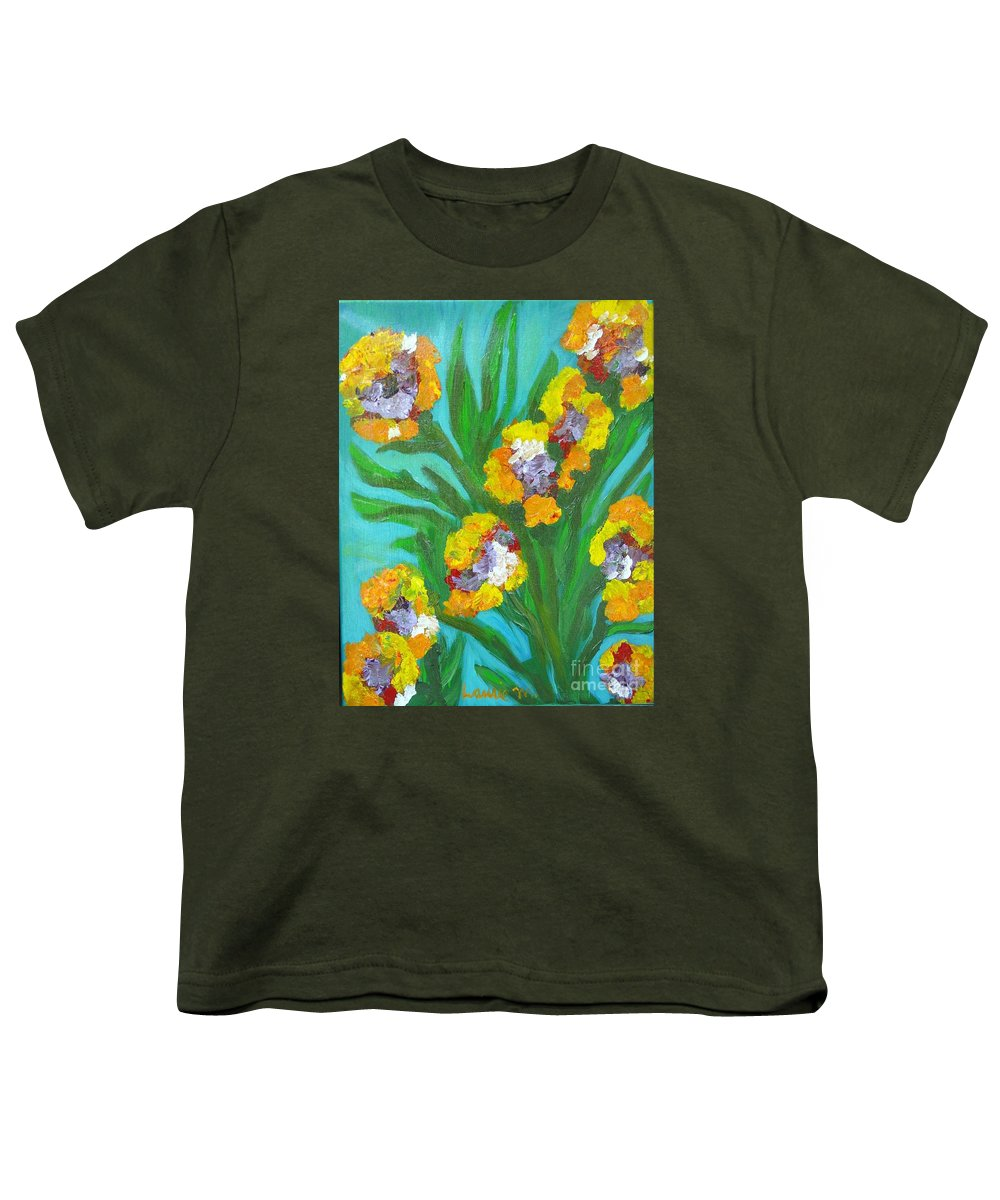 Flower Youth T-Shirt featuring the painting Fire Blossoms by Laurie Morgan