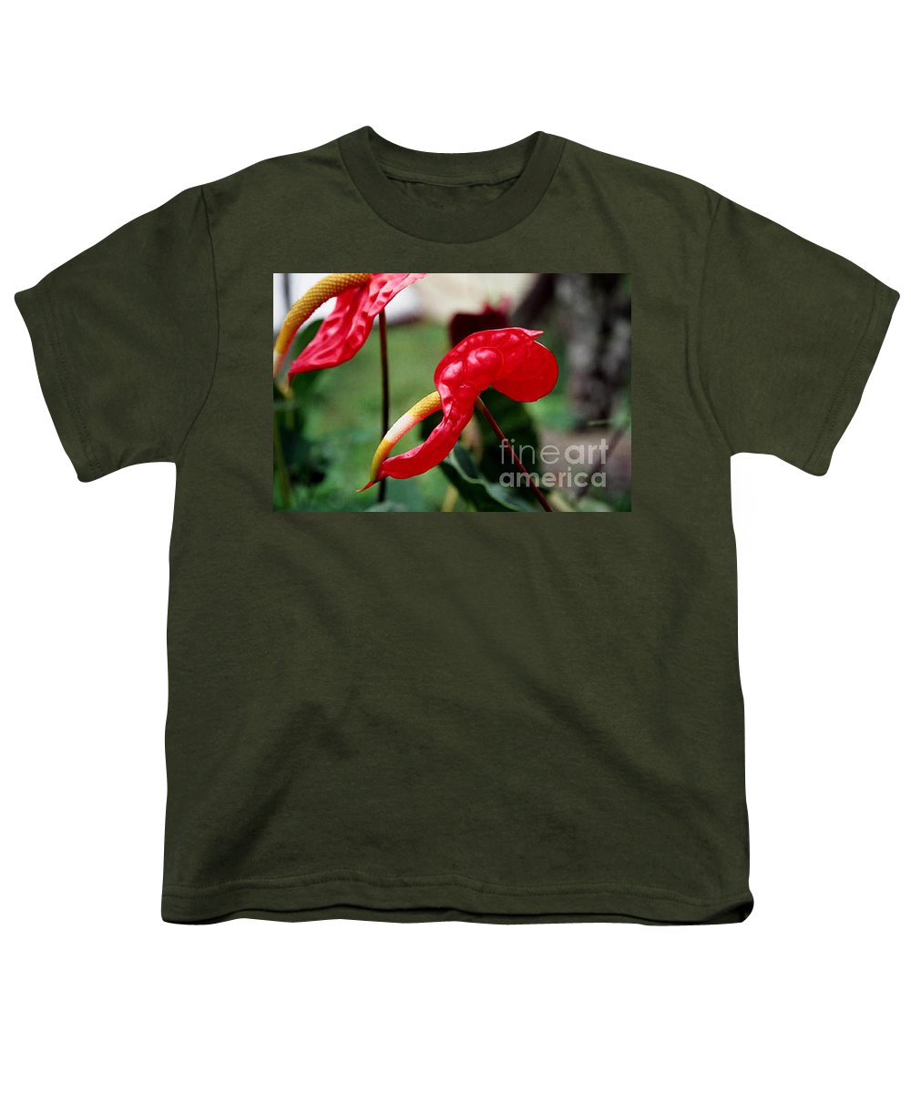 Exotic Flowers Youth T-Shirt featuring the photograph Flamingo Flower by Kathy McClure
