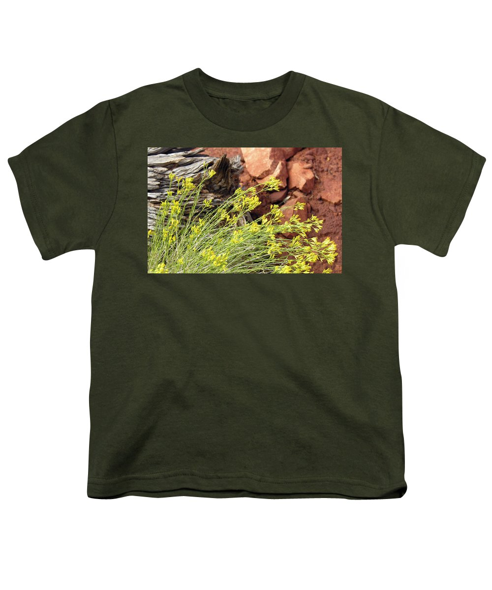 Flower Youth T-Shirt featuring the photograph Flower Wood And Rock by Marilyn Hunt
