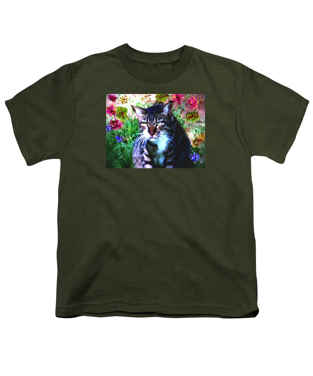 Cat Grey Attention Grass Flowers Nature Animals View Youth T-Shirt featuring the digital art Flowers And Cat by Dr Loifer Vladimir