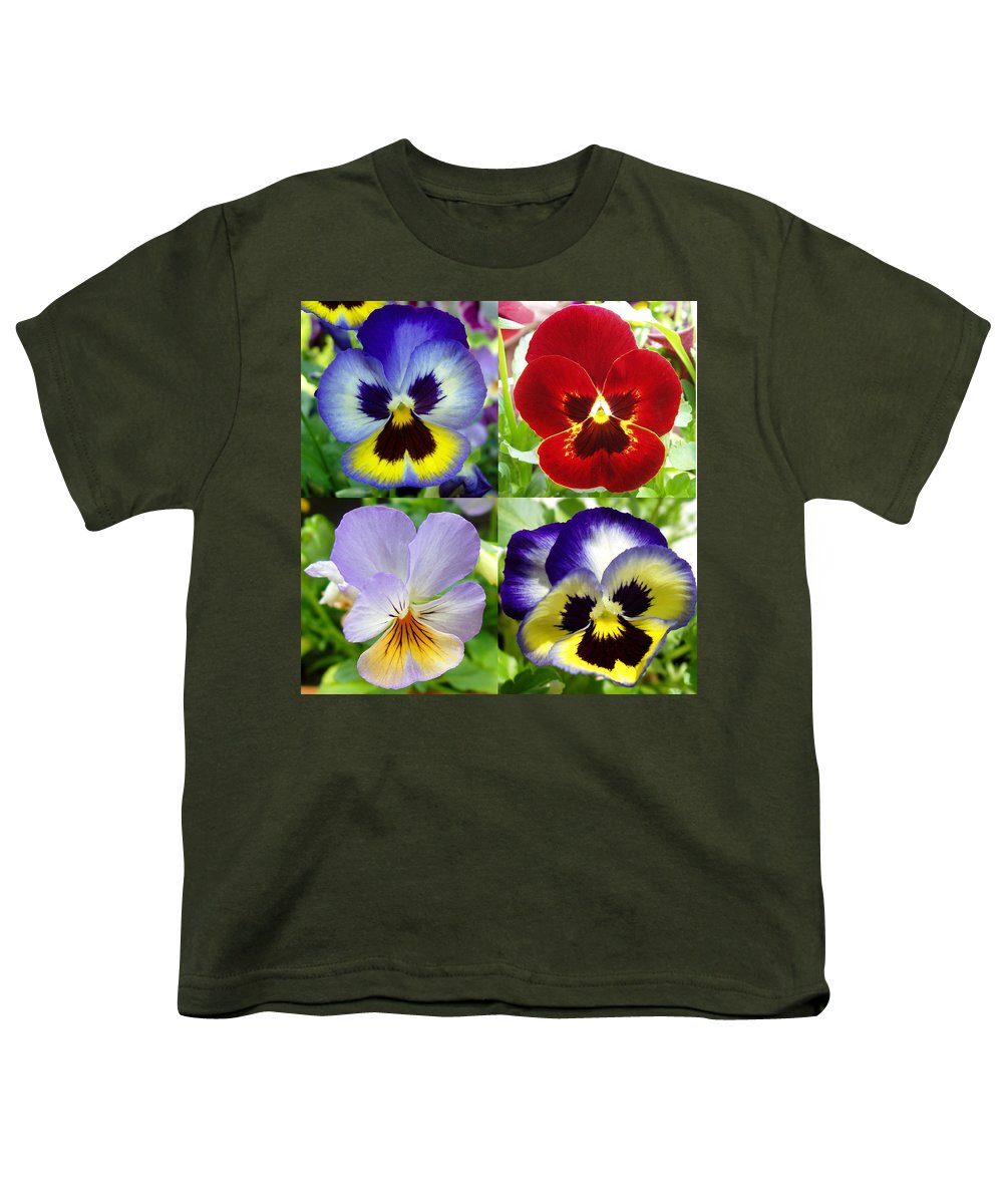 Pansy Youth T-Shirt featuring the photograph Four Pansies by Nancy Mueller