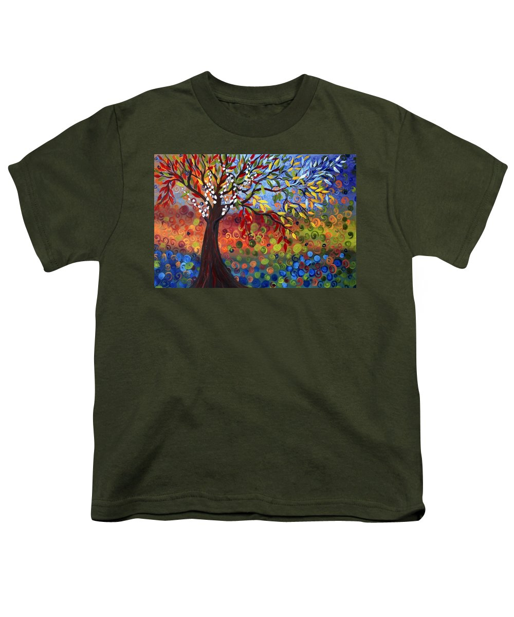 Art Youth T-Shirt featuring the painting Four Seasons by Luiza Vizoli