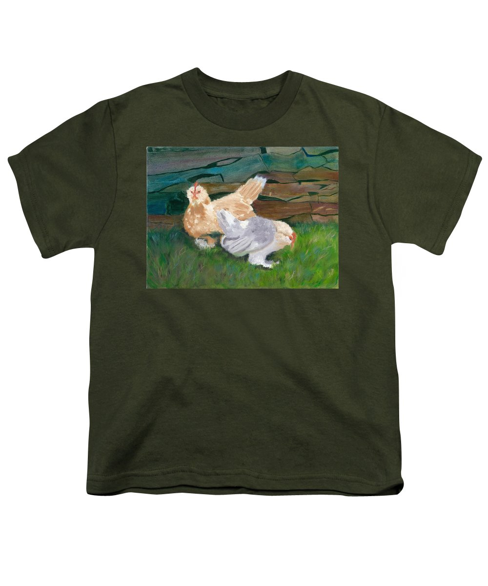 Chickens Bantams Countryside Stonewall Farm Youth T-Shirt featuring the painting Fowl Play by Paula Emery