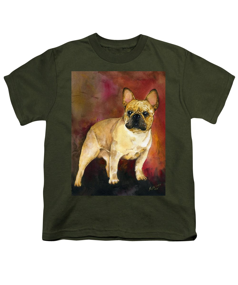 French Bulldog Youth T-Shirt featuring the painting French Bulldog by Kathleen Sepulveda