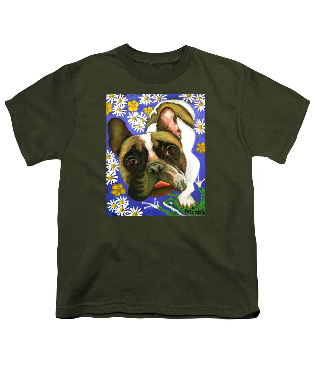 Pet Portrait Youth T-Shirt featuring the painting Frenchie Plays With Frogs by Minaz Jantz
