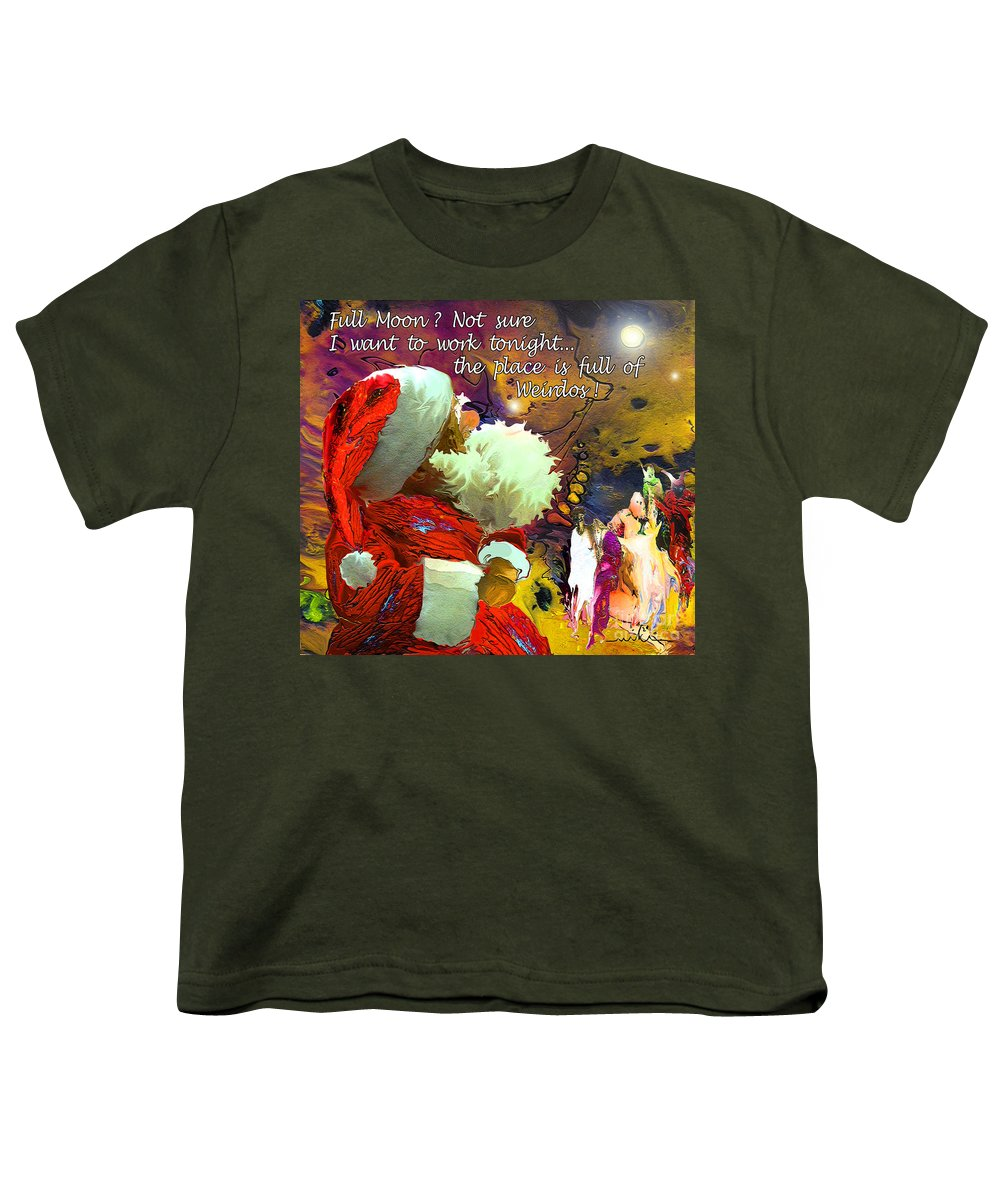 Fantasy Painting Youth T-Shirt featuring the painting Full Moon by Miki De Goodaboom