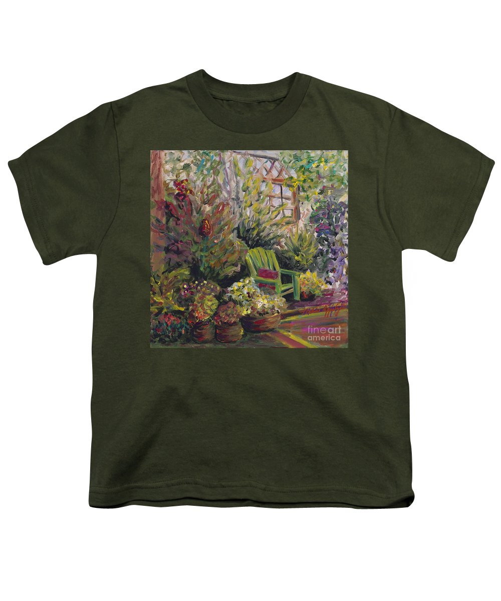 Green Youth T-Shirt featuring the painting Garden Escape by Nadine Rippelmeyer