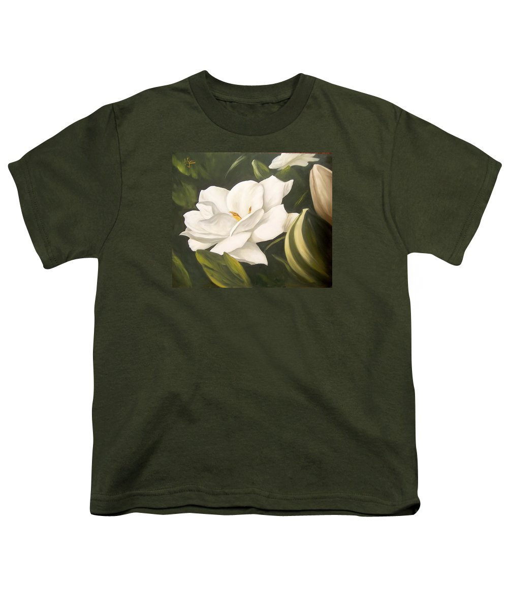 Gardenia Flower Youth T-Shirt featuring the painting Gardenia by Natalia Tejera