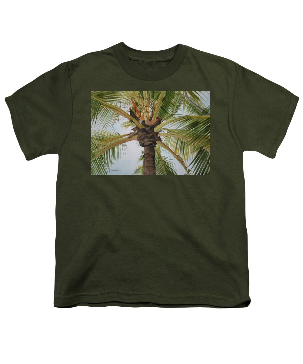 Palm Tree Youth T-Shirt featuring the painting Gecko Heaven by Jean Blackmer