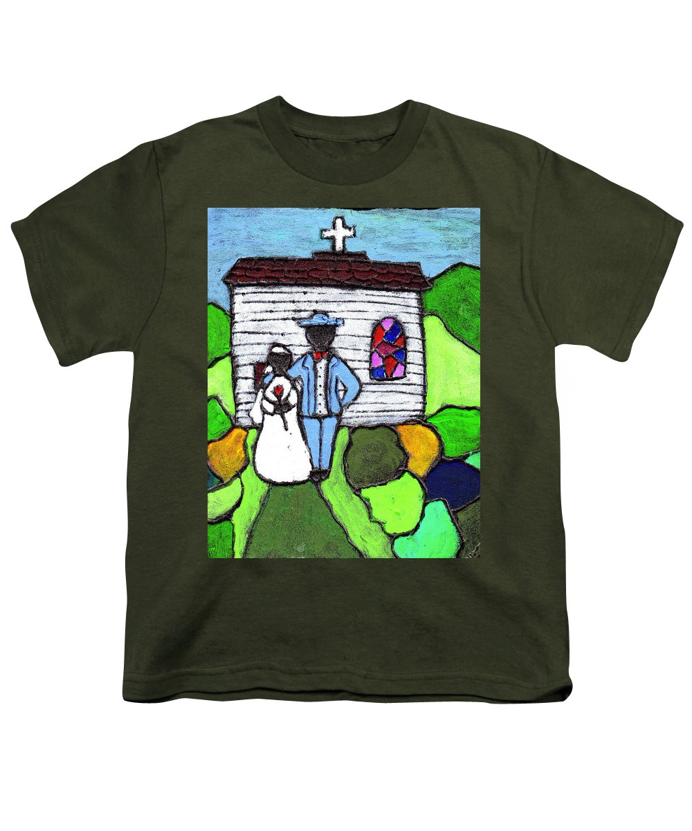 Folk Art Youth T-Shirt featuring the painting Getting Married Today by Wayne Potrafka
