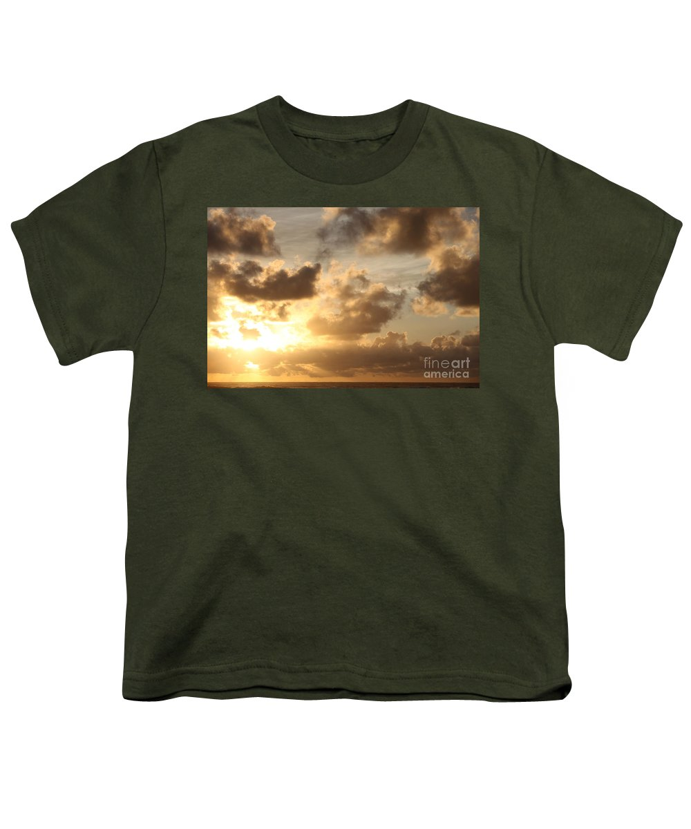 Sunrise Youth T-Shirt featuring the photograph Golden Sunrise On Kauai by Nadine Rippelmeyer