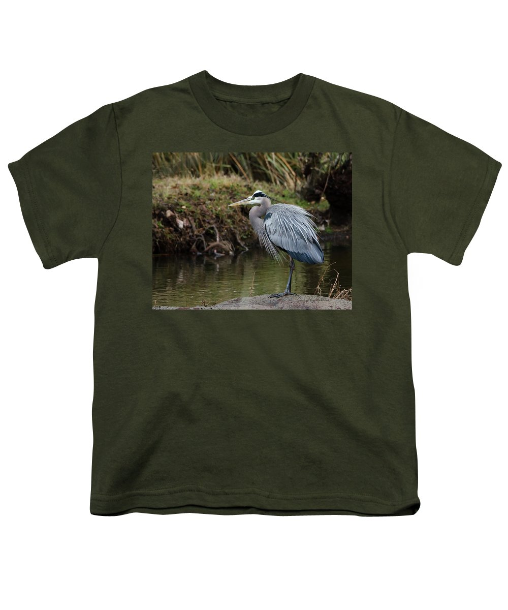 Hero Youth T-Shirt featuring the photograph Great Blue Heron On The Watch by George Randy Bass