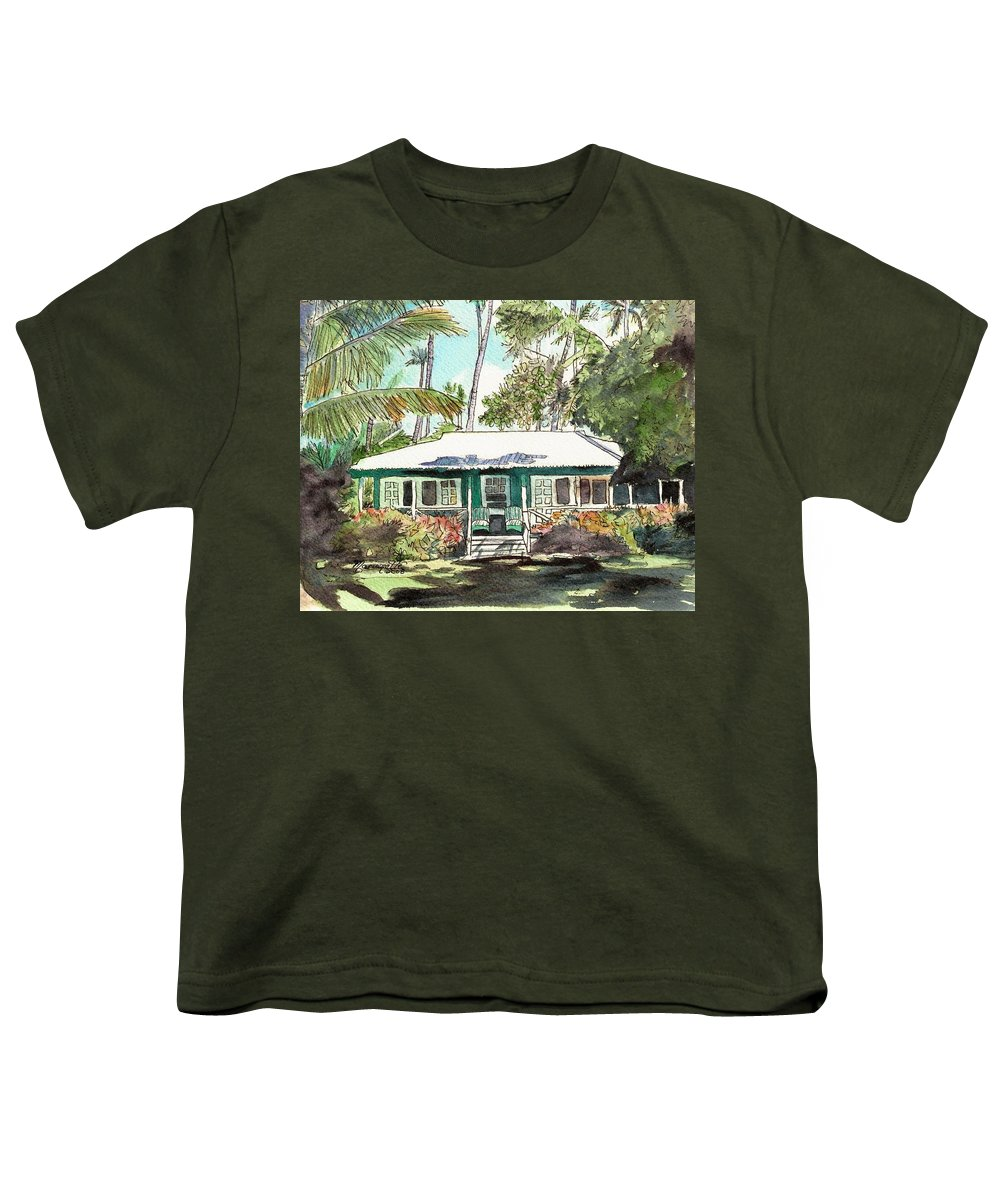 Cottage Youth T-Shirt featuring the painting Green Cottage by Marionette Taboniar