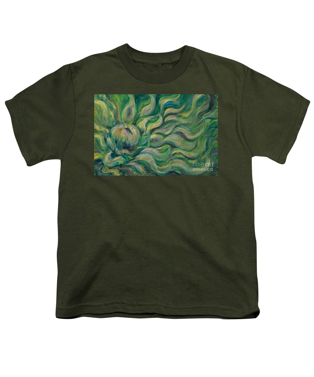 Green Youth T-Shirt featuring the painting Green Flowing Flower by Nadine Rippelmeyer