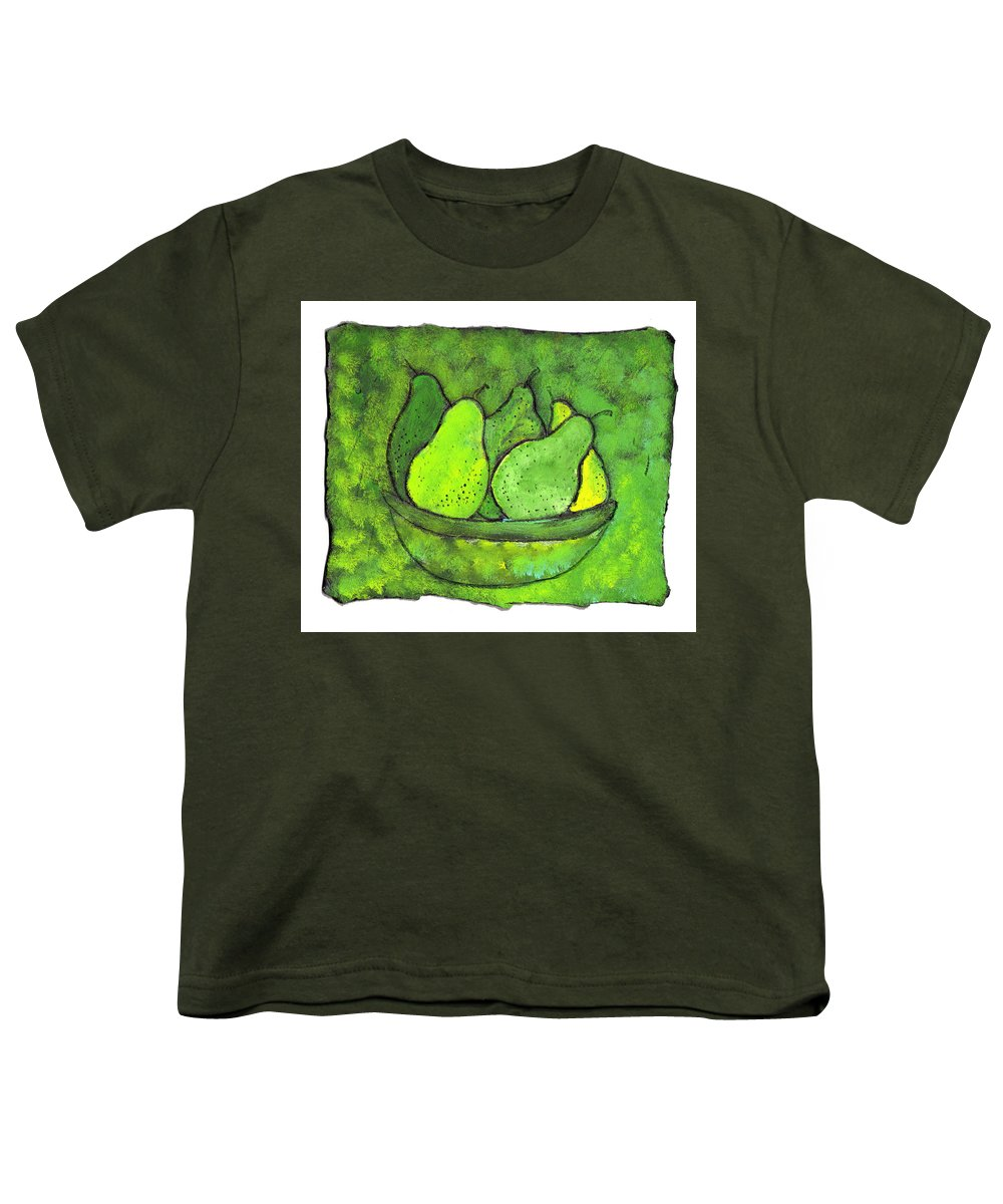 Greem. Pears Youth T-Shirt featuring the painting Green Pears by Wayne Potrafka
