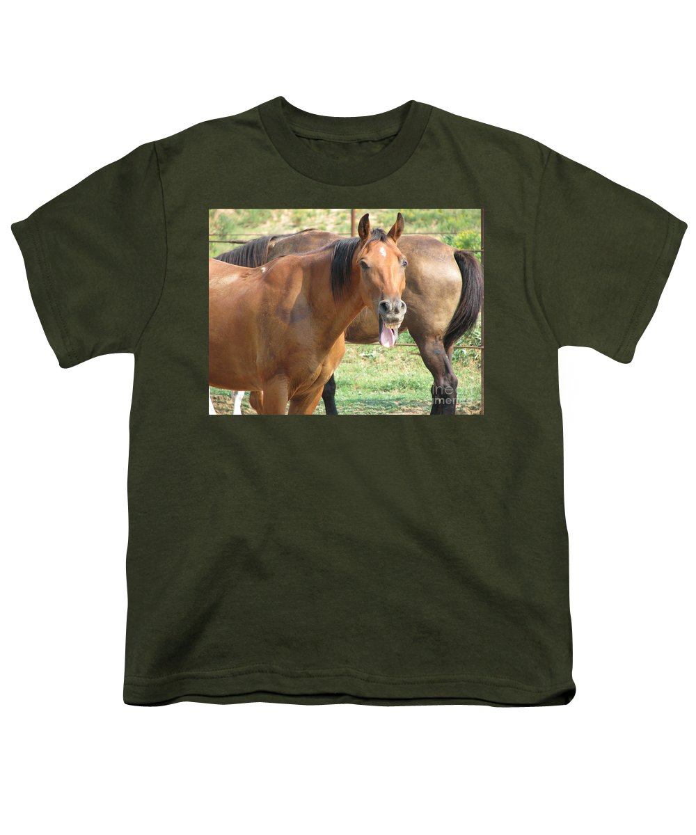 Horse Youth T-Shirt featuring the photograph Haaaaa by Amanda Barcon
