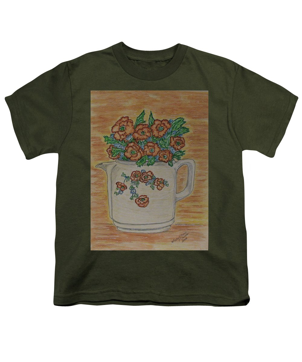 Hall China Youth T-Shirt featuring the painting Hall China Orange Poppy And Poppies by Kathy Marrs Chandler
