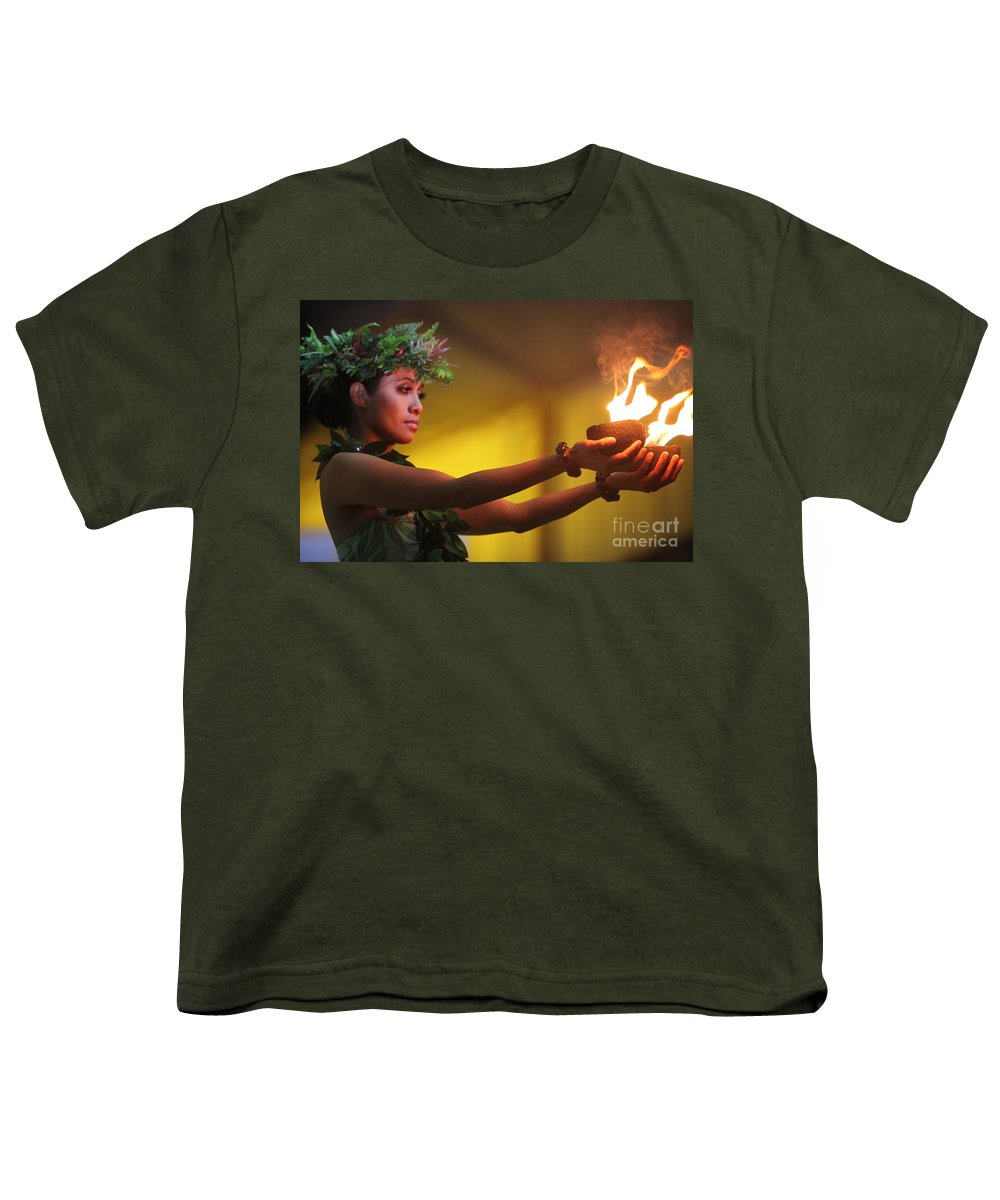Fire Youth T-Shirt featuring the photograph Hawaiian Dancer And Firepots by Nadine Rippelmeyer