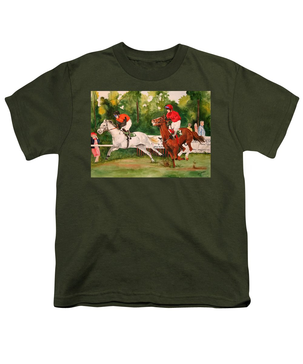 Racing Youth T-Shirt featuring the painting Homestretch by Jean Blackmer
