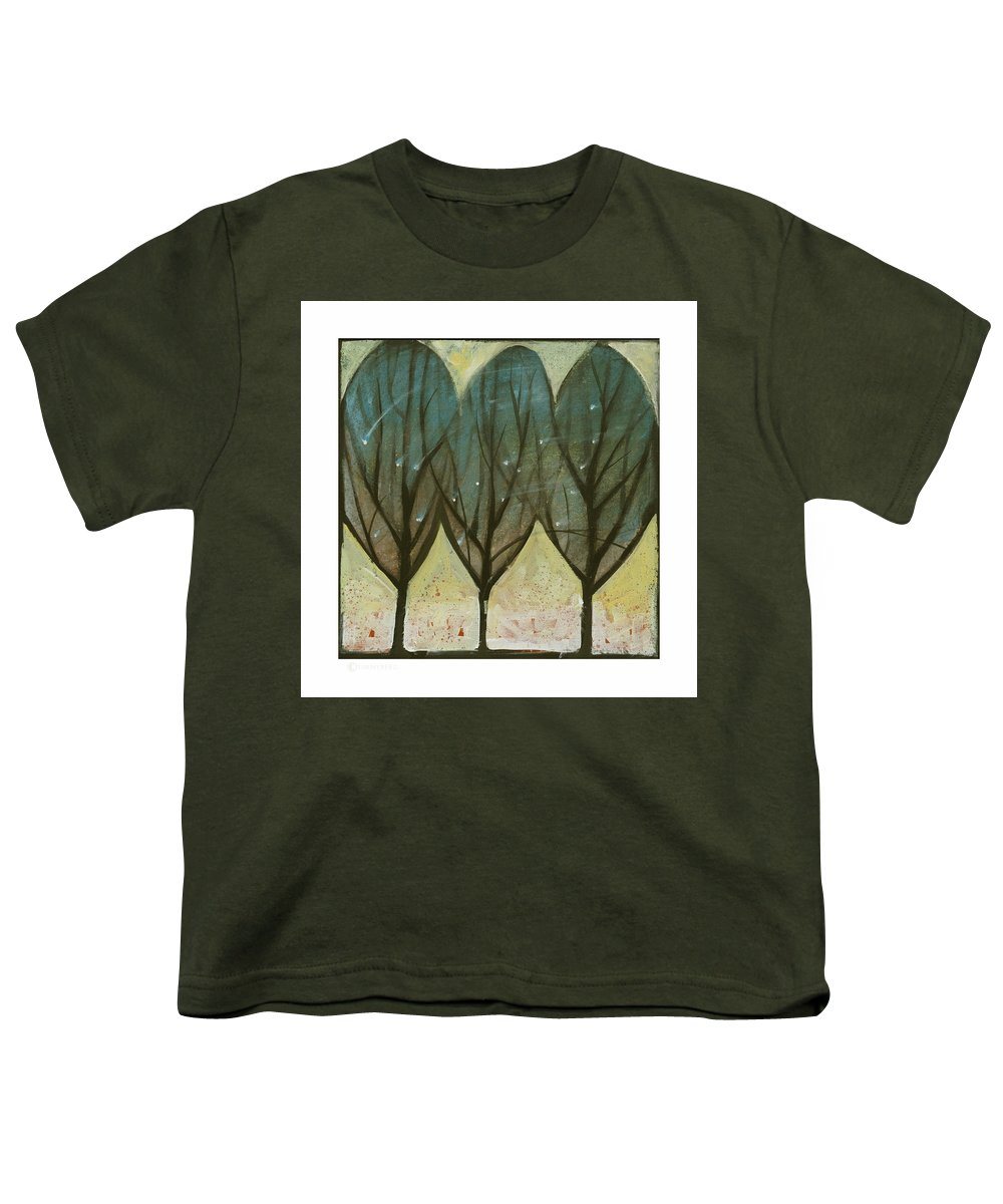 Trees Youth T-Shirt featuring the painting Indian Summer Snow by Tim Nyberg