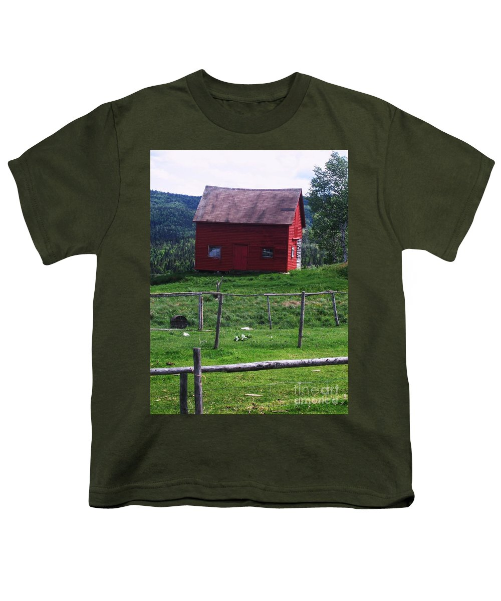 Photograph Newfoundland Jackson Cove Boat Grass Youth T-Shirt featuring the photograph Jackson's Cove by Seon-Jeong Kim
