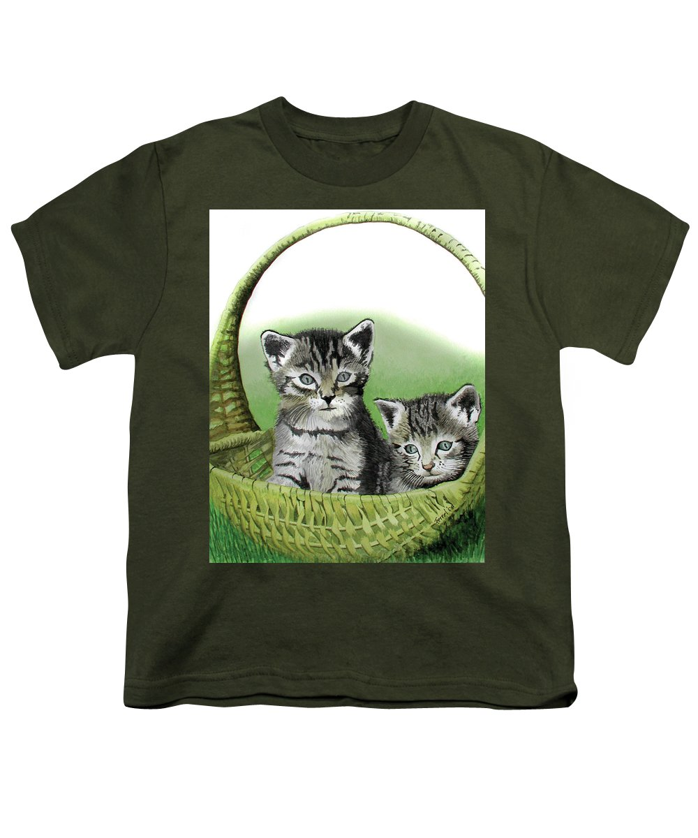 Cat Youth T-Shirt featuring the painting Kitty Caddy by Ferrel Cordle