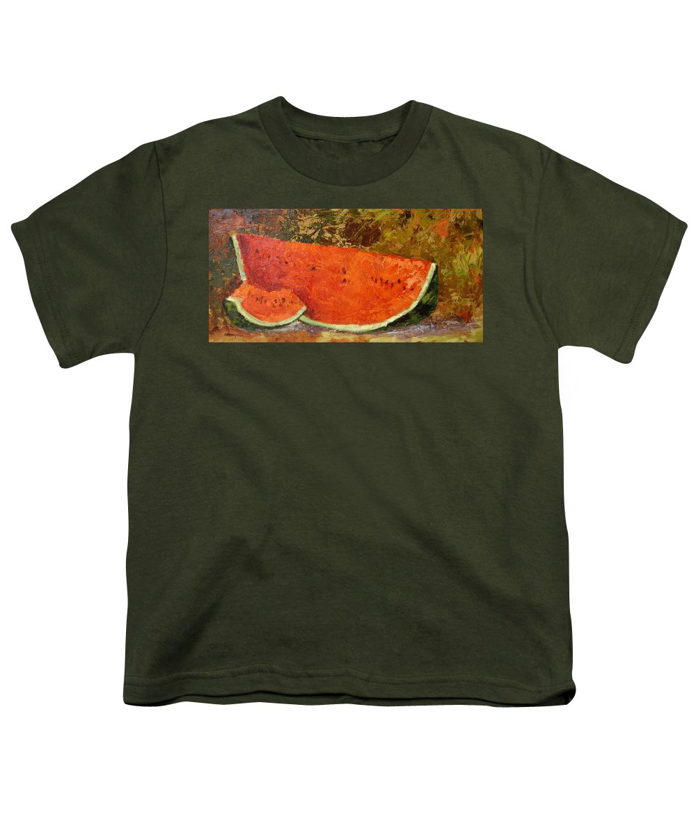 Watermelon Youth T-Shirt featuring the painting Last Of Summer by Ginger Concepcion